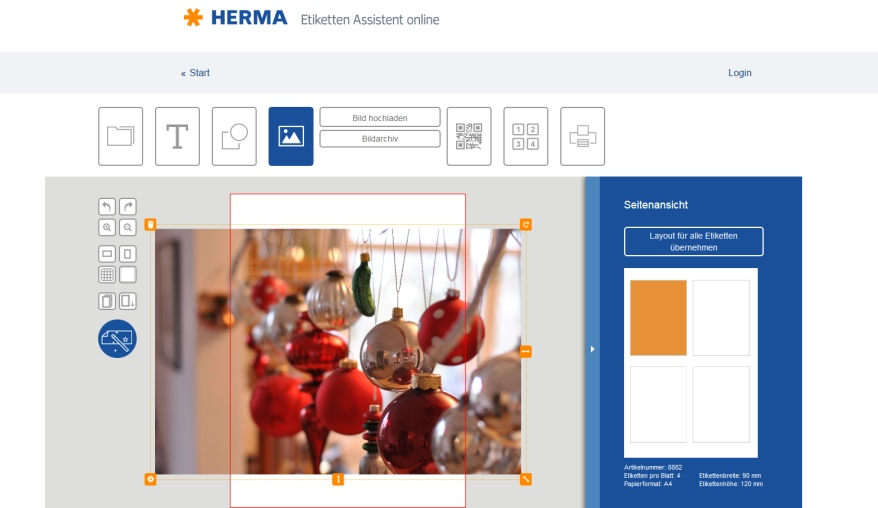 Etiketten Weinflaschen, Herma, Screenshot Software